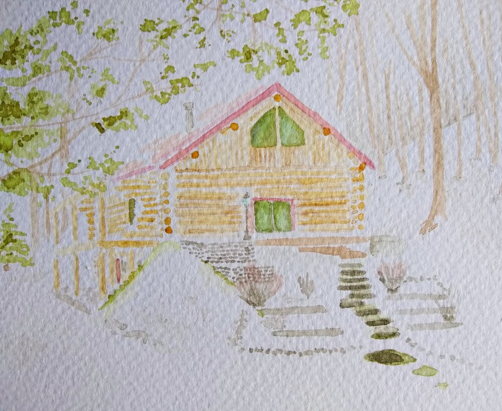 Home, painted with homemade inks.